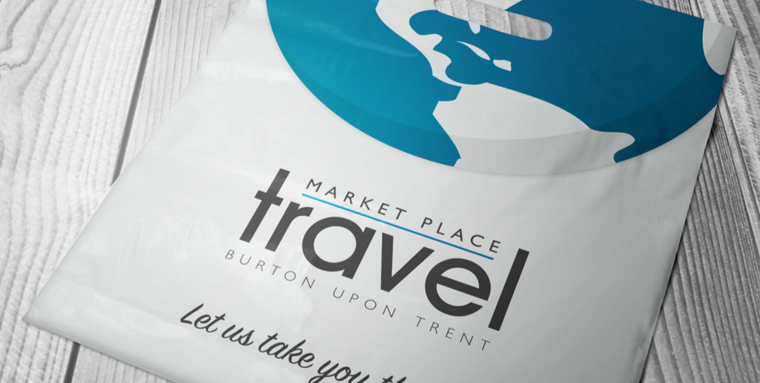 Market Place Travel logo  and marketing collateral