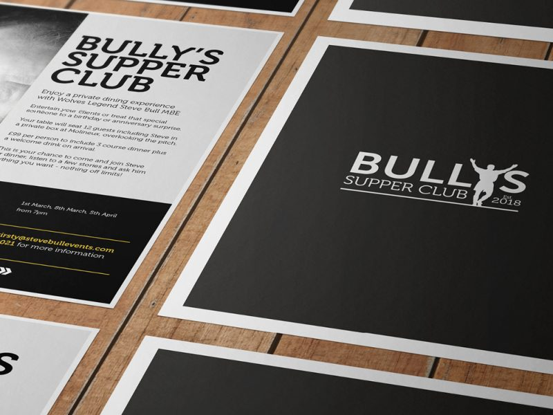 Bully's Supper Club branding and flyers